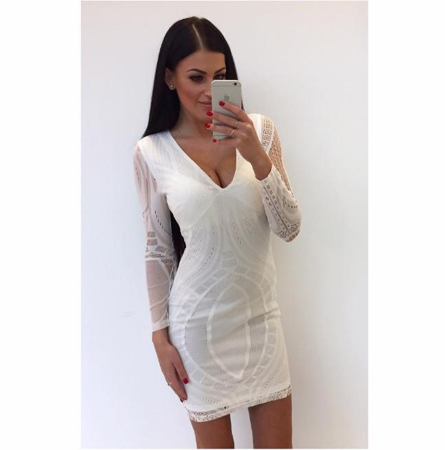 Valge V lõikega bodycon kleit