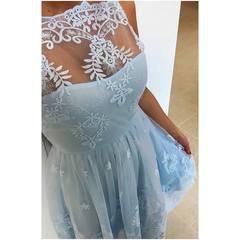 Helesinine pitsiga skater kleit