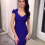 Sinine V lõikega bandage midi kleit