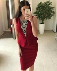 Veinipunane eest kividega peplum kleit