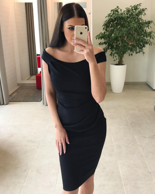 Must kroogitud off shoulders midi kleit