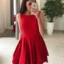 Punane mitmekihiline skater kleit
