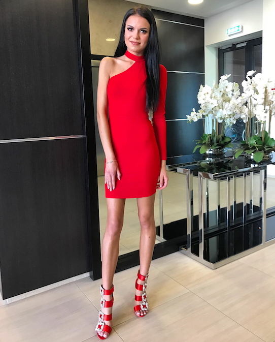 Punane ühe õlaga bodycon kleit