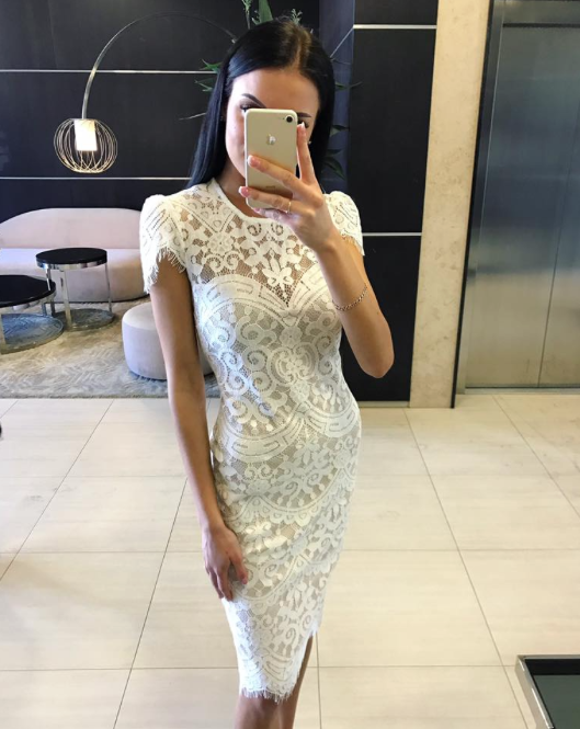 Valge väikese varrukaga pits midi kleit