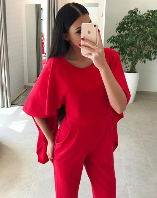 Punane volang varrukatega jumpsuit