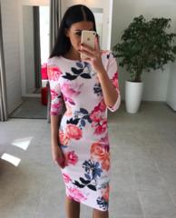 Heleroosa lilleline midi kleit