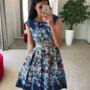 Sinine lilleline skater kleit taskutega