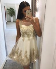 Kreemjas kuldsete detailidega skater kleit