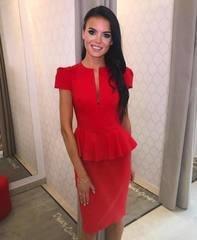 Punane peplum midi kleit
