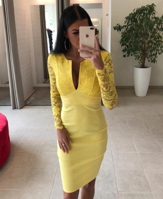 Kollane pits varrukatega midi kleit
