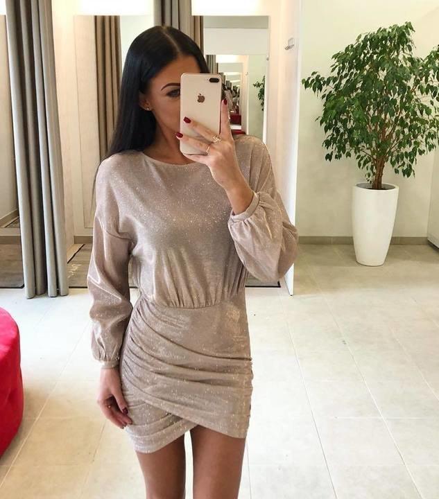 Pronks läikiv kleit
