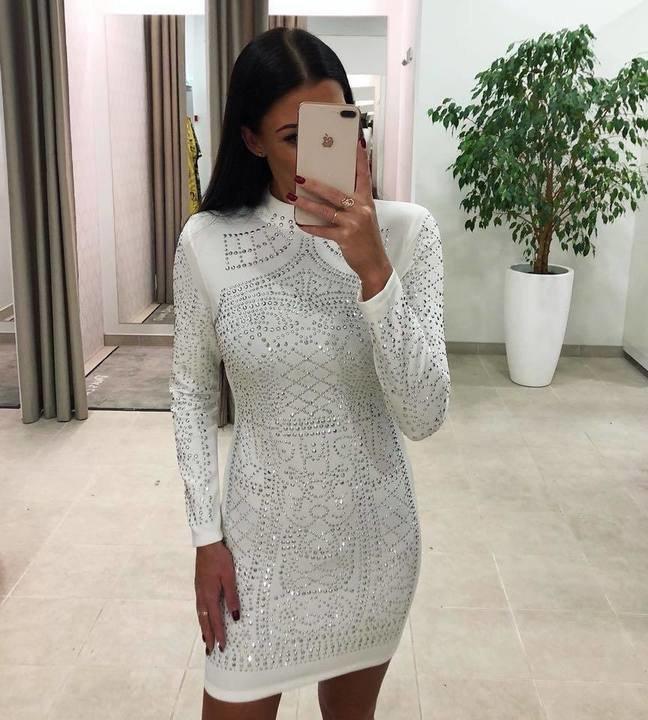 Valge kividega bodycon kleit