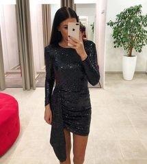 Must glitter bodycon kleit lahtise seljaga