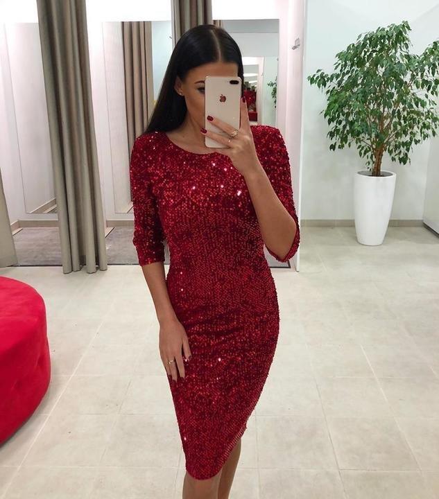 Punane pehmete litritega midi kleit