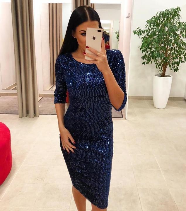 Sinine pehmete litritega midi kleit