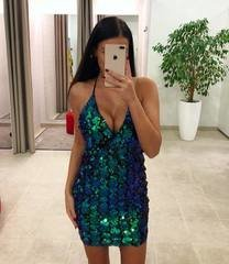 Rohekas glitter bodycon kleit