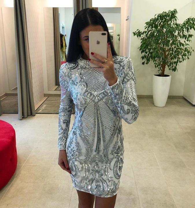 Valge pika varrukaga glitter bodycon kleit