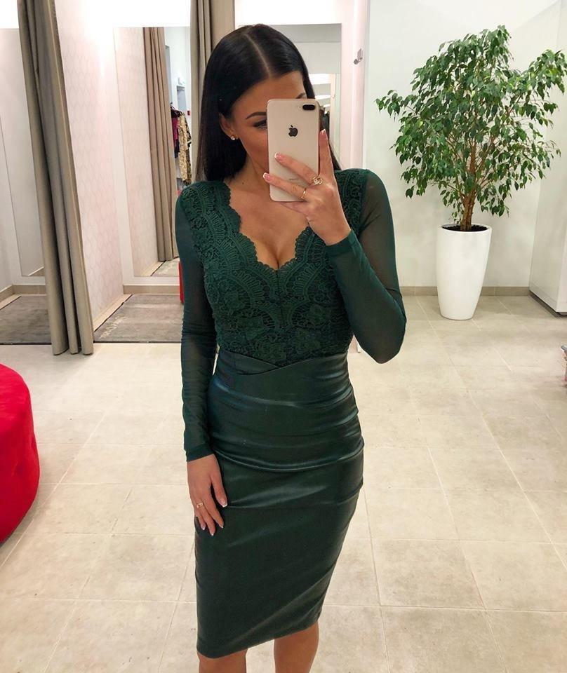 74d1c5670d2 Dina's Closet: Roheline nahkne midi pikkusega seelik