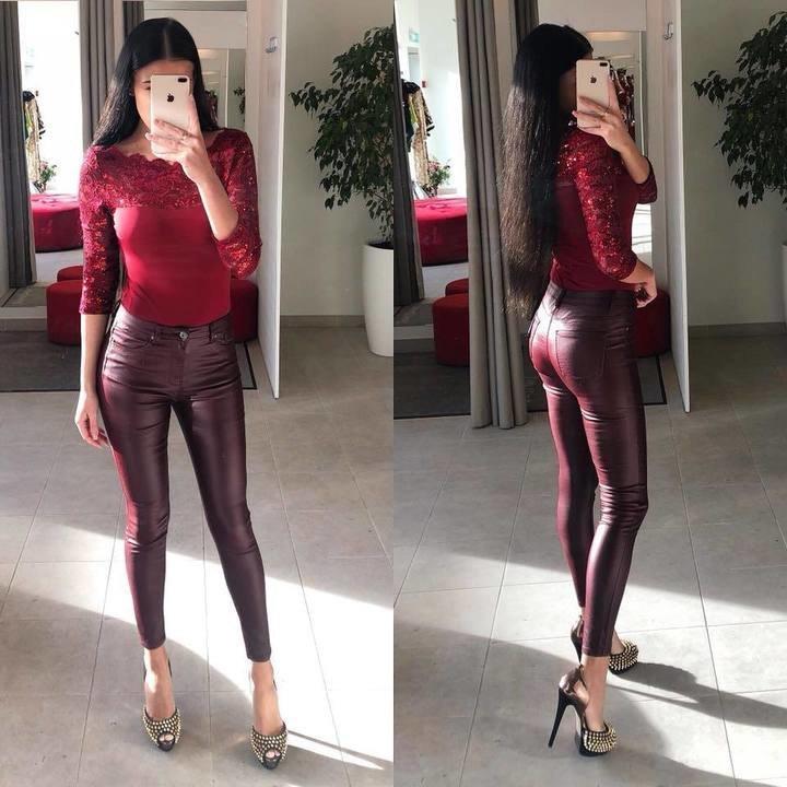 Tumedamad veinipunased nahksed püksid