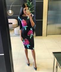 Must roosade lilledega midi kleit