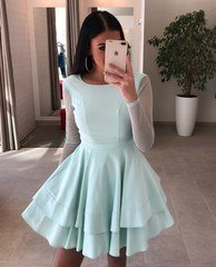 Mint tooni varrukatega skater kleit