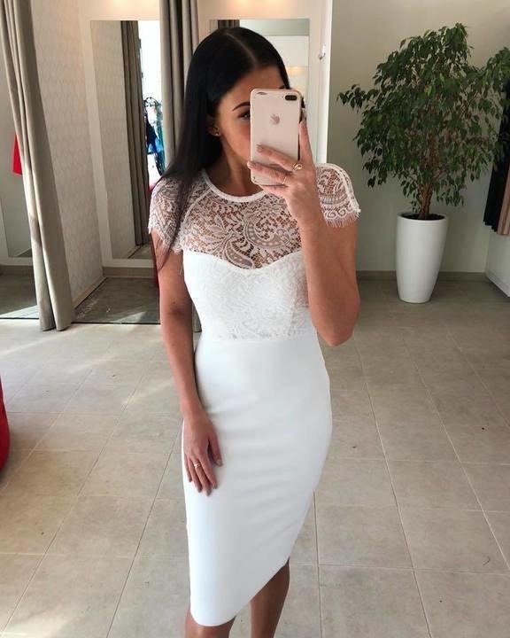 Valge kvaliteetne bandage kleit