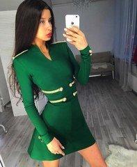 Roheline varrukatega bandage kleit