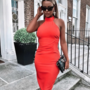 Oranzikas kroogitud midi kleit