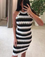 Triibuline nööpidega midi kleit