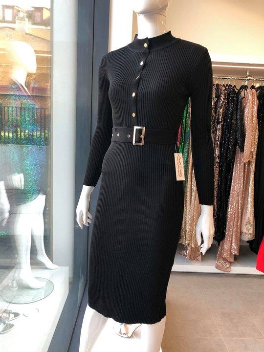 Must kootud midi kleit