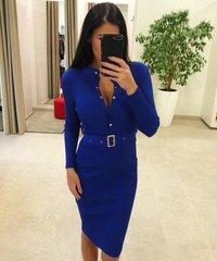 Sinine varrukate ja vööga midi kleit