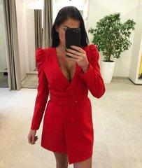 Punane pintsak-kleit vööga