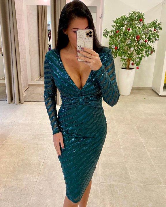 Mereroheline V lõikega glitter midi kleit