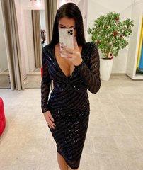 Must V lõikega glitter midi kleit