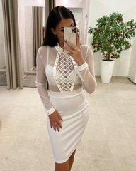 Valge labipaistva ulaosaga bodycon kleit
