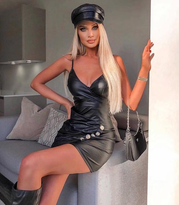 Must  nahkne nööpidega bodycon kleit