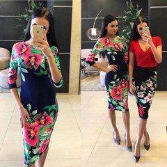 Tumesinine rooade lilledega midi kleit