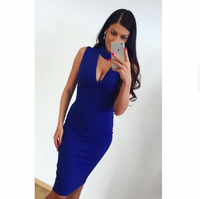 133121610af Sinine avara lõikega midi kleit Sinine avara lõikega midi kleit ...