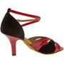 Ladina tantsukingad – punane kunstnahk ja musta värvi nahk, slim konts 6.5 cm