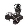 Ladina tantsukingad – musta värvi seemisnahk, pronksi värvi rihmad, slim konts 7.5 cm