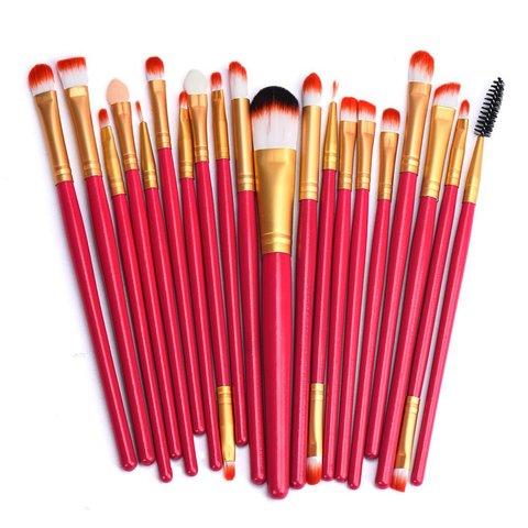 Red 20 Piece Makeup Brush Set