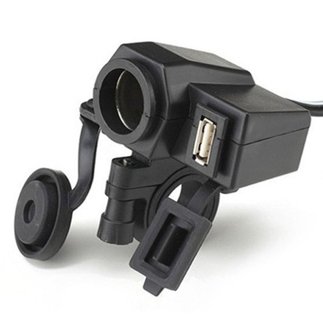 Motorcycle Cigarette lighter socket with USB and cable harness